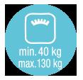 min. 40kg, max. 130 kg